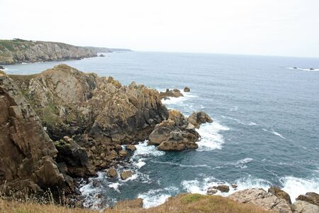 Cap Sizun, small waves in summer (Finistere, Brittany, France)