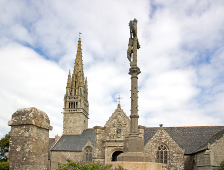 Church of Beuzec, Christ on the Cross. On a cloudy day (Finistere, Brittany, France)