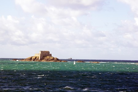 St Malo, fort of the big B�?© in high tide (Brittany France) Stock Photo