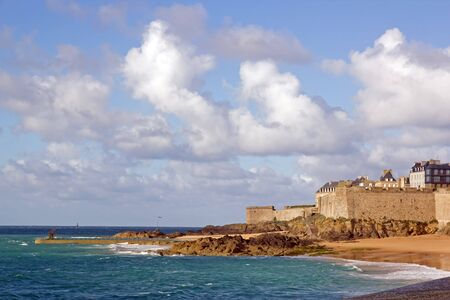 St Malo, ramparts, seen by the beach (Brittany, France) Stock Photo