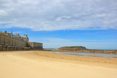 Beach at low tide and city of St Malo (Brittany France) Editorial