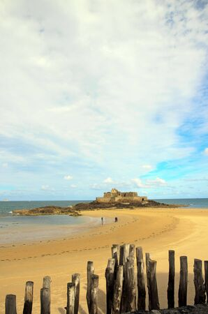 Fort of St Malo at low tide (Brittany France) Stock Photo