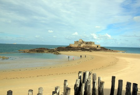 Fort of St Malo at low tide Brittany France Editorial