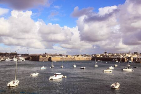 St Malo, the port under the threat of the storm (Bretagne France) Stock Photo