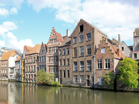 Ghent, typical houses along Lys (Ghent, Belgium). Stock Photo