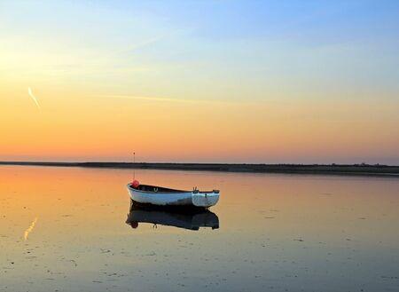 Coucher de soleil sur la baie de Somme Hauts-de-France, Nord, France.