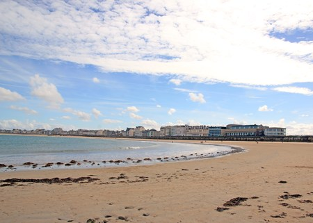 St Malo, the city seen from the beach to low tide (Brittany France)
