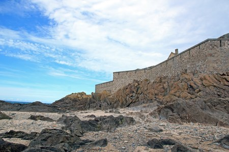 St Malo, outer walls seen from the beach, in the low tide (Brittany France)
