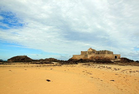 St Malo, strong in low tide (Brittany France)
