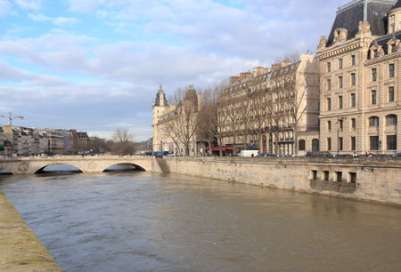 The floods of the Seine, Paris France. Floods Paris winter, 2018.