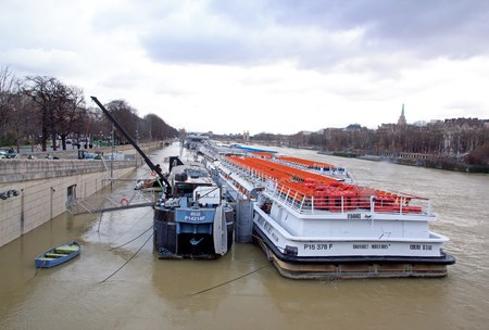 The floods of the Seine, Paris France, winter, 2018. Boats in which, impossibility to navigate