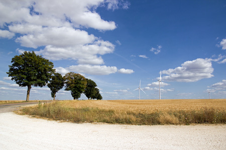 Small country road and wind turbines (Yonne, Burgundy. France)