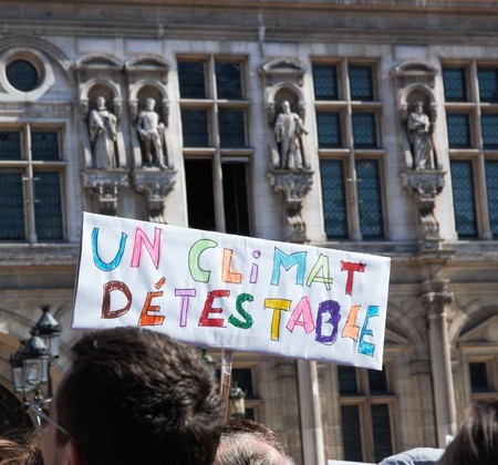 Walking for the climate - Up for the climate. Ecological demonstration. Paris France Saturday, September 08th, 2018. 写真素材 - 111809894