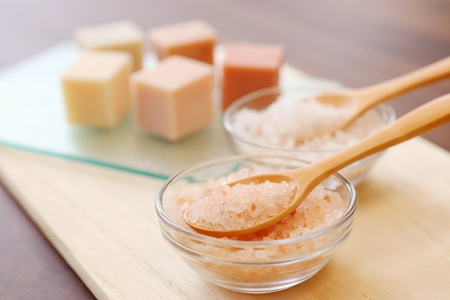 bath salts: SOAP and bath salts in glass containers