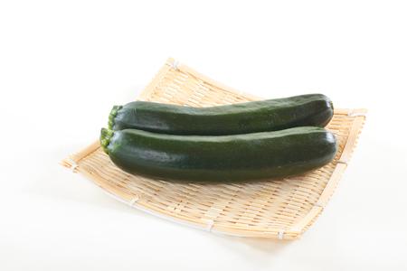 Zucchini on bamboo basket