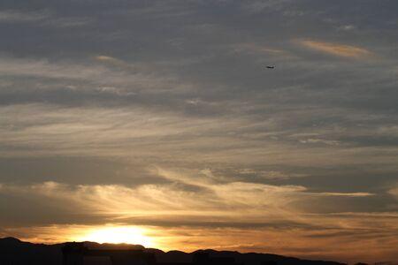 evening glow: Evening glow with plane