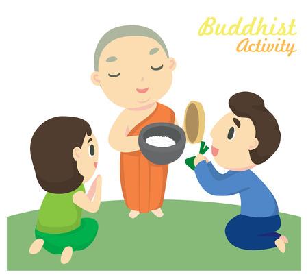 'Alms geven' een van de boeddhistische activiteiten Stock Illustratie