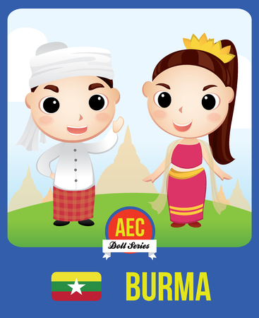 The cute couple doll of Burmese as a symbol of Burma country member of Asean  (AEC) Illustration