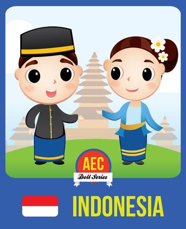 The cute couple doll of Indonesian  as a symbol of Indonesia country member of Asean  (AEC) Çizim