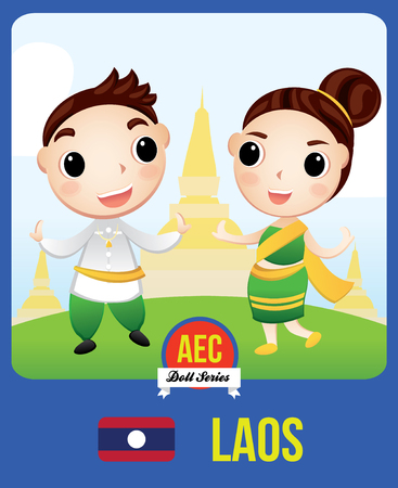 The cute couple doll of Laotian as a symbol of Laos country member of Asean  (AEC) Stok Fotoğraf - 77226685
