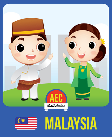 The cute couple doll of Malaysian as a symbol of Malaysia country member of Asean  (AEC)