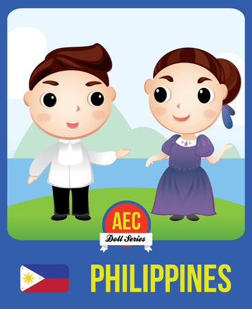 asian family: The cute couple doll of Filipino as a symbol of Philippines country member of Asean  (AEC)