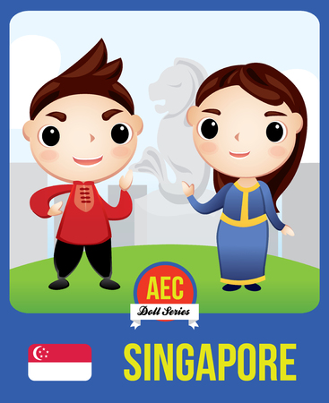 The cute couple doll of Singaporean as a symbol of Singapore country member of Asean  (AEC)