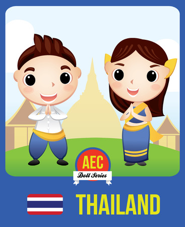 The cute couple doll of Thai as a symbol of Thailand country member of Asean  (AEC)