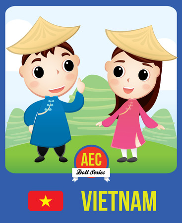 The cute couple doll of Vietnamese as a symbol of Vietnam country member of Asean  (AEC) Stok Fotoğraf - 77452040