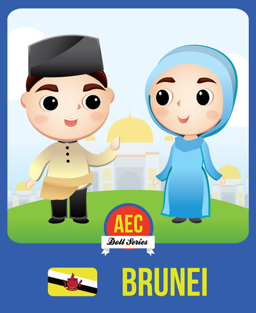 The cute couple doll of Bruneian as a symbol of Brunei country member of Asean  (AEC) Illustration