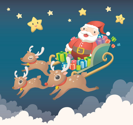 Merry Christmas with cute Santa Claus and his companions Stok Fotoğraf - 77395618