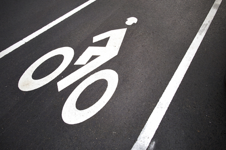 one lane street sign: Bicycle lane. White mark of bicycle and white arrow pointing one way on asphalt path