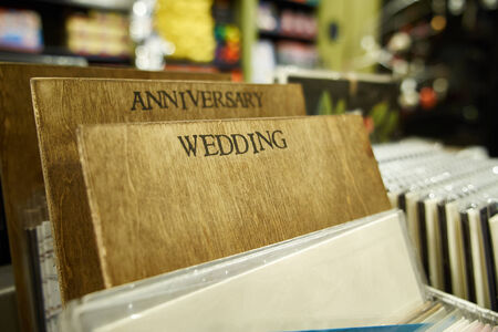 wooden divider for greetting, gift, wedding cards in a boston shop photo