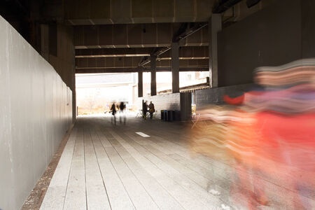 People relaxing and strolling on The High Line. The High Line is a recently created New York City park located on what used to be an elevated industrial railroad line. It is located in the meatpacking district on the west side of Manhattan. It stretches f Stock Photo - 24853824