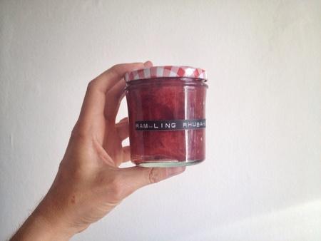 두서없는: Rambling rhubarb glass 스톡 사진