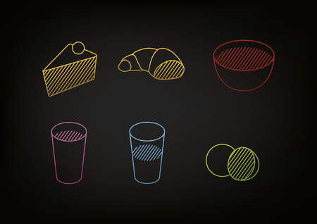 line drawing of food icons on dark background. Graphical translation of food Vector
