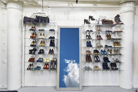 conceptional: conceptional image to illustrate heaven and freedom when byuing shoes in shop