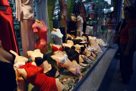 display case: A display case for female underwear on Istikal street in Istanbul, Turkey