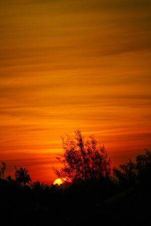sunset with red clouds in zanzibar, africa