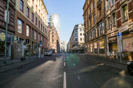 Coronavirus lockdown. Frankfurt, Germany. April 5, 2020. Empty streets and sidewalks of Bahnhofsviertel during government imposed lockdown.