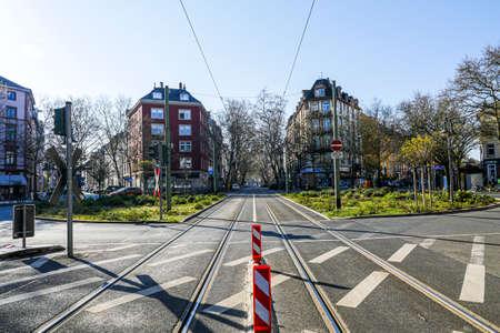 Coronavirus lockdown. Frankfurt, Germany. April 5, 2020. Schweizer Platz crosswalk with empty streets during quarantine.