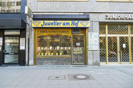 Coronavirus lockdown. Frankfurt, Germany. April 5, 2020. Barred small business jewelry store during cover-19 pandemic quarantine. Redactioneel