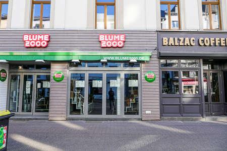 Coronavirus lockdown. Frankfurt, Germany. April 5, 2020. Shut doors of fast food and coffee shops during covid-19 pandemic.