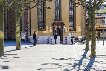 Coronavirus lockdown. Frankfurt, Germany. April 5, 2020. Barred entrance to St. Paul's church during covid-19 lockdown.