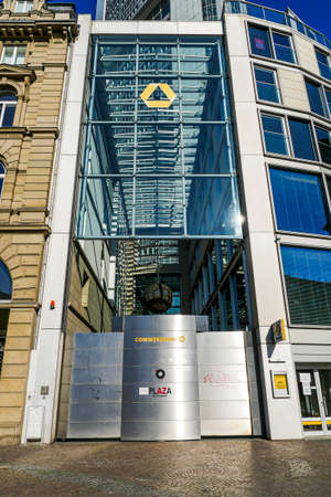 Coronavirus lockdown. Frankfurt, Germany. April 5, 2020. Barred entrance to bank in Kaiserplatz during covid-19 quarantine lockdown.