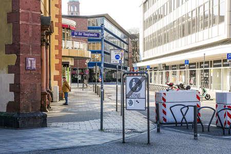 Coronavirus lockdown. Frankfurt, Germany. April 5, 2020. Barred entrance to Zeil pedestrian shopping zone during pandemic lockdown.