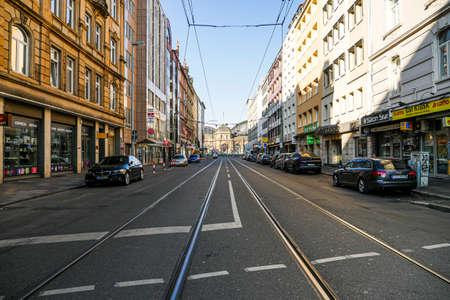 Coronavirus lockdown. Frankfurt, Germany. April 5, 2020. Closed businesses and empty street in Bahnhofsviertel during pandemic crisis.