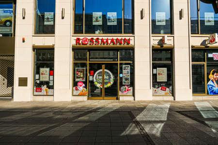 Coronavirus lockdown. Frankfurt, Germany. April 5, 2020. Franchise drugstore with shut doors during quarantine lockdown.