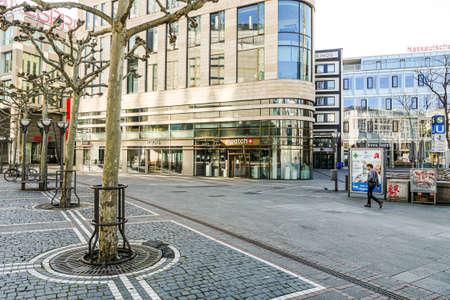 Coronavirus lockdown. Frankfurt, Germany. April 5, 2020. Closed stores and empty street of the popular Zeil promenade during covid-19 pandemic.