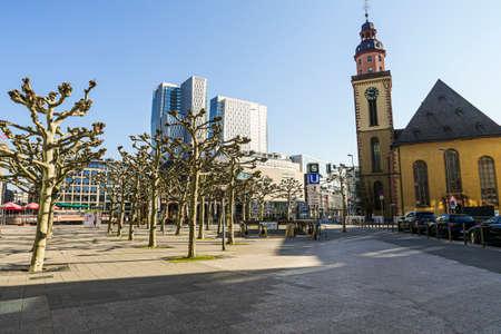 Coronavirus lockdown. Frankfurt, Germany. April 5, 2020. Empty promenade with St. Paul's church and modern buildings druid covid-19 quarantine. Editorial
